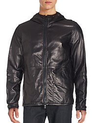 Giorgio Armani Long Sleeve Leather Jacket Denim