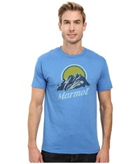 Marmot Pikes Peak Short Sleeve Tee Royal Heather Men's Clothing Blue
