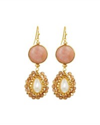 Nakamol Agate And Pearl Double Drop Earrings No Color
