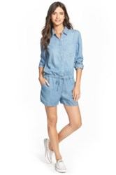 Hinge Long Sleeve Denim Romper Blue