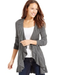 Style And Co. Long Sleeve Ruffle Trim Cardigan Rhone