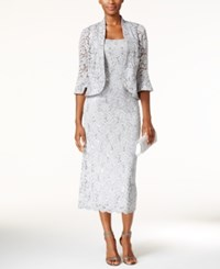R And M Richards Sequined Lace Midi Dress Jacket Silver