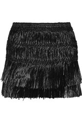 Isabel Marant Copal Fringed Faux Raffia Mini Skirt Black