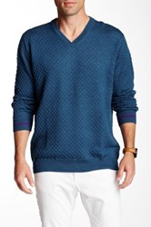 Robert Graham Bagley Textured Knit V Neck Sweater Blue