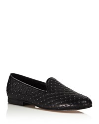 Ramon Tenza Studded Quilted Smoking Slippers Black