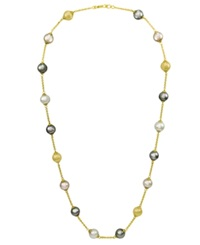 Majorica Pearl Necklace 18K Gold Over Sterling Silver Multicolor Organic Man Made Pearl Illusion
