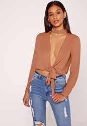 Missguided Choker Tie Front Crop Nude Red