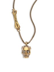 Alexander Mcqueen Swarovski Crystal Skull Pendant Necklace Goldtone Antique Gold
