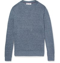 Brunello Cucinelli Melange Linen And Cotton Blend Sweater Blue