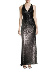 Xscape Evenings Sequined Ombre Gown Black Taupe