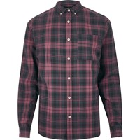 River Island Mensred Check Long Sleeve Shirt