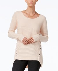 Bar Iii Asymmetrical Grommet Detail Sweater Only At Macy's Ballet Pink