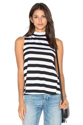 Splendid Delcia Rugby Stripe Turtleneck Tank Black And White