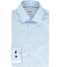 Duchamp Tailored Fit Diamond Print Cotton Shirt Blue