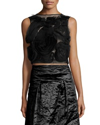 Nicole Miller Sleeveless Floral Tulle Crop Top