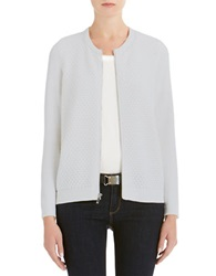 Jones New York Petites Petite Scoop Neck Cardigan Sweater Nickel Heather