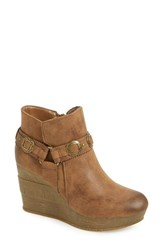Sbicca Women's 'Brigit' Western Wedge Bootie Tan Faux Leather