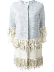 Dondup Frayed Woven Coat Blue