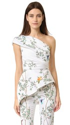 Monique Lhuillier One Shoulder Peplum Top Silk White Multi