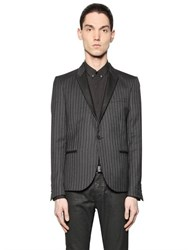 The Kooples Nappa Leather And Pinstriped Wool Jacket