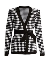 Balmain Diamond Knit Cardigan Black White