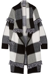 Burberry Fringed Checked Wool And Cashmere Blend Cardigan Black