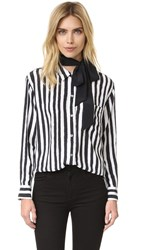 Equipment Kate Moss Daddy Blouse With Removable Neck Tie True Black Bright White