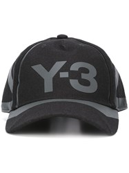 Y 3 Logo Print Baseball Hat Black