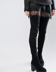 Truffle Collection Thigh High Chunky Boot Black Micro