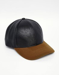 Asos Baseball Cap In Black And Khaki Black Khaki