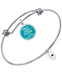 Unwritten 'Watch Over Me' Adjustable Message Bangle Bracelet In Stainless Steel