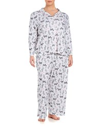 Karen Neuburger Plus Patterned 2 Piece Pajama Set White