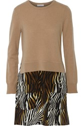 Equipment Shirley Cashmere And Printed Silk Mini Dress Brown