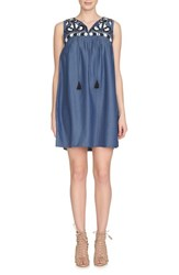 Women's Cece By Cynthia Steffe Embroidered Chambray Shift Dress