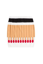Moschino Matchstick Wool Skirt Multicolor