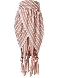 G.V.G.V. Striped Knotted Pleated Skirt Brown