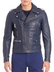 Kent And Curwen Asymmetrical Front Leather Biker Jacket Navy
