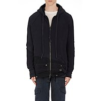 Greg Lauren Men's Cotton Zip Front Hoodie Blue