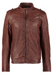 Mustang Joffre Leather Jacket Dark Tan Cognac