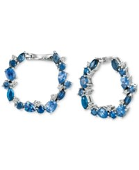 Le Vian Precious Collection Sapphire 3 Ct. T.W. And Diamond 1 5 Ct. T.W. Hoop Earrings In 14K Gold White Gold