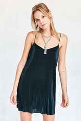 Kimchi And Blue Iridescent Accordion Pleat Mini Slip Dress Teal