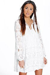 Boohoo Tie Front Lace Swing Dress White