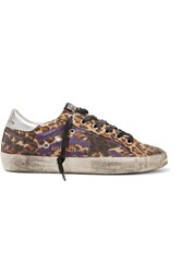 Golden Goose Super Star Metallic Leopard Print Canvas Sneakers Animal Print