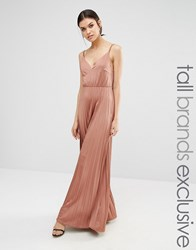 True Decadence Tall Plunge Front Maxi Dress With Pleated Skirt Rose Pink
