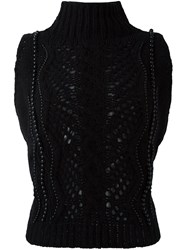 Ermanno Scervino Sleeveless Beaded Knitted Top Black