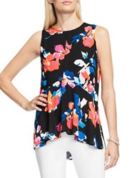 Vince Camuto Sleeveless Rendezvous Floral Ruffle Front Blouse Rich Black Multi