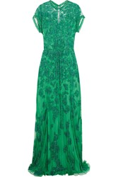 Jenny Packham Embellished Tulle Gown Green