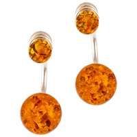 Be Jewelled Cognac Amber Sterling Silver Double Bead Earrings Amber