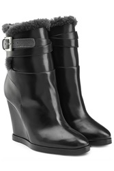 Fendi Leather Ankle Boots With Shearling Lining Black