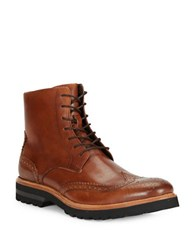 Kenneth Cole Click Sound Wingtip Leather Ankle Boots Cognac